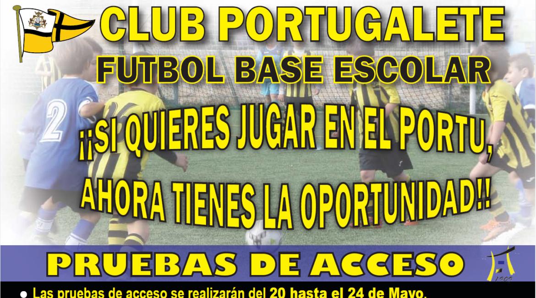 pruebas acceso fútbol escolar club portugalete 2019